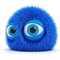לוגו כדור פרווה כחול